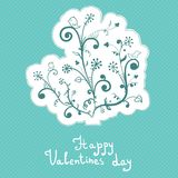 Cute abstract flowers, valentines day, badge Royalty Free Stock Photo