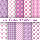 10 Cute abstract geometric bright seamless. Patterns (tiling). Vector illustration for attractive design Stock Image
