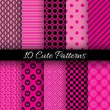 Cute abstract geometric bright seamless patterns. 10 Cute abstract geometric bright seamless patterns. Vector illustration for attractive design. Endless texture Royalty Free Stock Photos