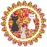 Cute  abstract geometric round print with fantasy cats  for desi Royalty Free Stock Images