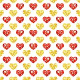 Cute abstract geometric seamless background with glitter sparkling hearts in retro style. Ideal for Valentines day design as template card, wallpaper, wrapping Royalty Free Stock Photos