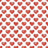 Cute abstract geometric seamless background with glitter sparkling hearts in retro style. Ideal for Valentines day design as template card, wallpaper, wrapping Stock Images
