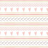 Cute abstract hand drawn pink seamless patterns Horizontal stripes pink hearts vector background. Set of cute abstract hand drawn pink seamless patterns stock illustration