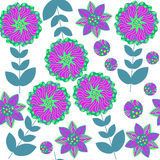 Cute  abstract nature seamless pattern with colorful fantasy flo Royalty Free Stock Image