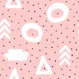 Cute abstract seamless pattern with geometric shapes and polka dots. Sketch, watercolour, graffiti, paint. Drawn by hand. Modern vector illustration Stock Photos