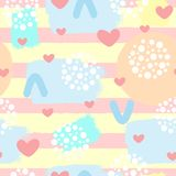 Cute abstract seamless pattern with hearts, brush strokes and geometric shapes.  Stock Photo