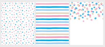 Cute Abstract Vector Patterns and Layout. White, Pink, Blue and Beige Desing. stock illustration