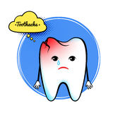 Cute aching tooth character Royalty Free Stock Photo