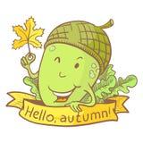 Cute acorn character Stock Image