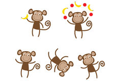 Cute active monkeys. Cute monkey Illustrations in various positions Stock Images
