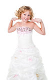 Cute active teen girl wearing gown isolated Royalty Free Stock Image