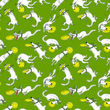 Cute activity dogs vector seamless pattern. Doodle background wi Stock Image