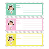 Cute address label cartoon design with cute colorful panda girls on pastel color suitable for kid address label. And tag vector illustration