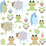 Cute adorable animals  seamless pattern and seamless pattern in Royalty Free Stock Photo