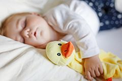 Cute adorable baby girl of 6 months sleeping peaceful in bed at home. Closeup of beautiful calm child, little newborn stock photo