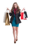 Cute, adorable and beautiful young shopping woman Royalty Free Stock Photo