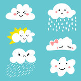 Cute and adorable cartoon weather clouds icon set Stock Photography