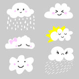 Cute and adorable cartoon weather clouds icon set Stock Photos