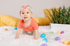 Baby girl celebrating Easter holiday Royalty Free Stock Photography