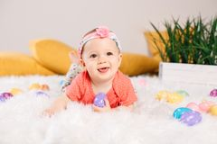Baby girl celebrating Easter holiday Royalty Free Stock Image