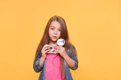Cute adorable Girl Child with retro camera Stock Photos