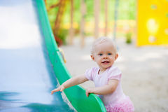 Cute adorable nice baby girl smiling Stock Photos