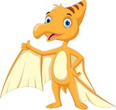 Cute and adorable Pterodactyl cartoon thumbs up royalty free illustration
