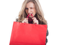 Cute, adorable and sexy shopping girl Royalty Free Stock Image