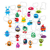 cute adorable ugly scary funny mascot monster set Stock Images