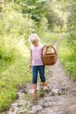 Blonde preschool little girl picking fresh edible mushrooms Royalty Free Stock Photos
