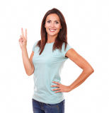 Cute adult woman celebrating her winning Royalty Free Stock Image
