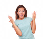 Cute adult woman screaming at you Royalty Free Stock Photography