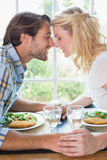 Cute affectionate couple having a meal together Royalty Free Stock Images