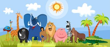 Cute africa animals. Vector Illustration of a cute africa animals Stock Images