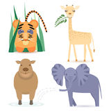 Cute Africa Animals. Cute Africas Animals Kids such as Giraffe, Elephant, Hippo and little Lion. Vector EPS10 Royalty Free Stock Photos