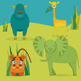 Cute Africa Animals in Savanna. Cute Africas Animals Kids in Savanna. Bright Colored Giraffe, Elephant, Hippo and little Lion Made in Flat Style with Strokes Stock Photo