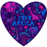 Cute Africa pattern in silhouette of heart with wild animals Royalty Free Stock Images