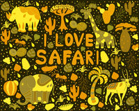 Cute Africa pattern with words Royalty Free Stock Images