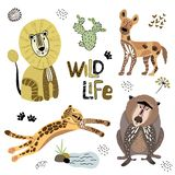 Cute Africa Vector Set royalty free illustration