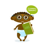 Cute African American Baby Boy Holding Book Toddler Happy Cartoon Infant In Diaper Reading Royalty Free Stock Photography
