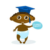 Cute African American Baby Boy Weating Graduation Cap Toddler Happy Cartoon Infant In Diaper Royalty Free Stock Images