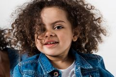 Clase-up portrait of cute african american baby girl royalty free stock photos
