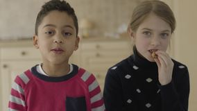 Cute african american boy and blond caucasian girl with blue eyes sitting in the kitchen. The girl eating cookie and the. Boy talking joyfully looking in camera stock video