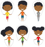 Cute African-American boys and girls skipping rope vector set. Cute African-American boys and girls skipping vector set. Kids do fitness exercises with jumping vector illustration