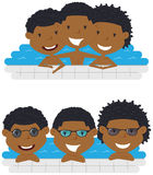 Cute aFrican American cheerful boys relaxing in the pool. stock illustration