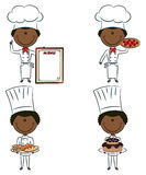 Cute African-American chef men stock illustration