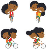 Cute African American couple on bikes Stock Image