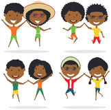 Cute African-American couples jumping outdoor vector illustration. vector illustration