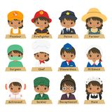 Half Body African American Female Workers Vector Collection. Cute African American female workers in different uniform vector collection. Half body professions stock illustration
