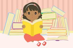 Cute African American Girl Reading Cartoon Vector. A cute african american girl reading and sitting in front of a pile of books, illustration stock illustration